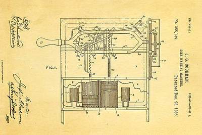Cochran Dish Washing Machine Patent Art 1886 Poster