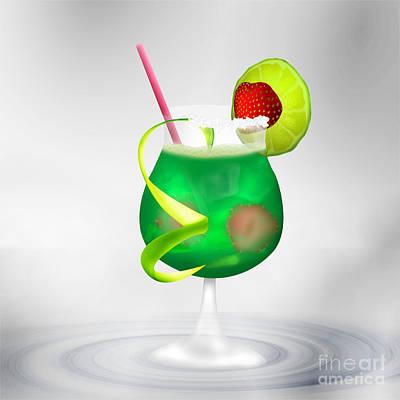 Cocktail Green Strawberry Poster by Regina Koch