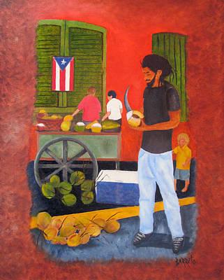 Coconut Man Poster by Gloria E Barreto-Rodriguez