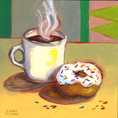 Poster featuring the painting Coffee And Donut by Susan Thomas