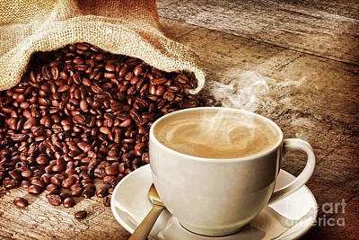 Coffee And Sack Of Coffee Beans Poster