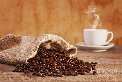 Coffee Beans And Burlap Sack Poster by Colin and Linda McKie