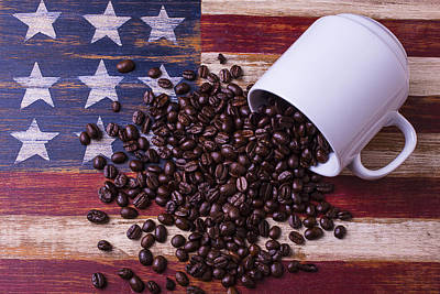 Coffee Cup On American Flag Poster by Garry Gay