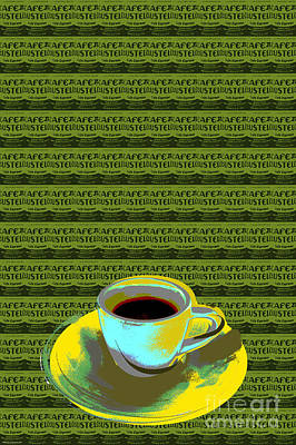 Poster featuring the digital art Coffee Cup Pop Art by Jean luc Comperat