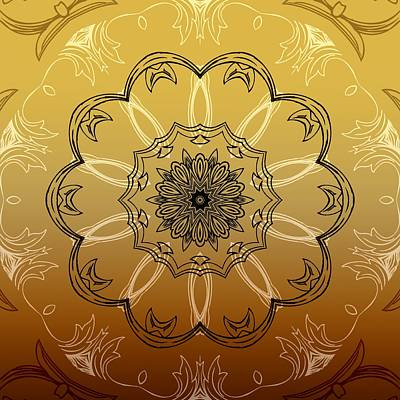 Coffee Flowers 3 Ornate Medallion Calypso Poster by Angelina Vick