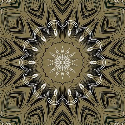 Coffee Flowers 4 Olive Ornate Medallion Poster by Angelina Vick
