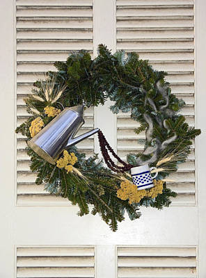 Coffee Wreath Poster by Sally Weigand