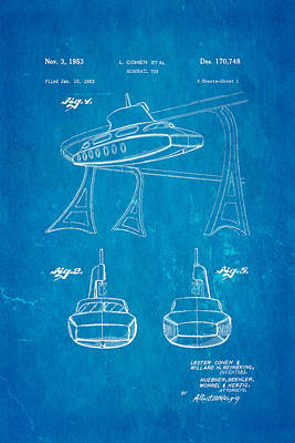 Cohen Monorail Toy Patent Art 1953 Blueprint Poster