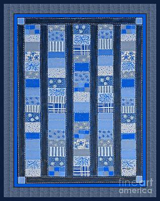 Coin Quilt -  Painting - Blue Patches Poster by Barbara Griffin