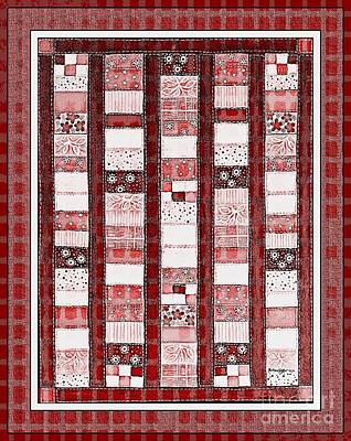 Coin Quilt -  Painting - Red Patches Poster by Barbara Griffin