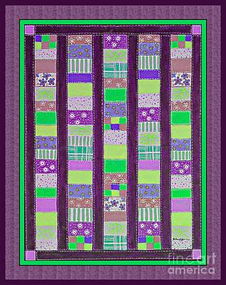 Coin Quilt - Quilt Painting - Purple And Green Patches Poster