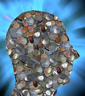 Coins In The Shape Of A Human Head Poster by Victor De Schwanberg