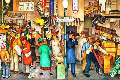 San Francisco Coit Tower Mural 20141005 V1 Poster by Wingsdomain Art and Photography