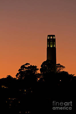 Poster featuring the photograph Coit Tower Sunset by Kate Brown