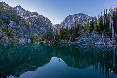 Colchuck Morning Reflection Poster by Mike Reid