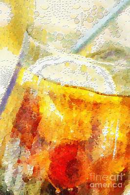 Cold Drink With Lemon And Ice Painting Poster by Magomed Magomedagaev