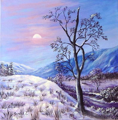 Poster featuring the painting Cold Evening by Bozena Zajaczkowska