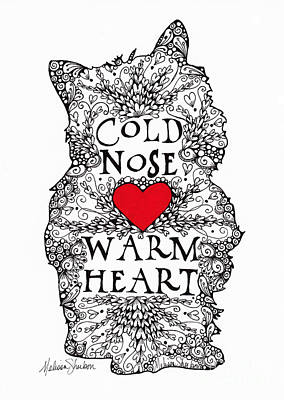 Poster featuring the drawing Cold Nose Warm Heart by Melissa Sherbon