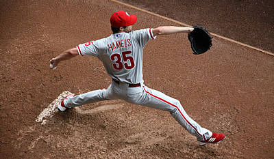 Cole Hamels - Pregame Warmup Poster by Stephen Stookey