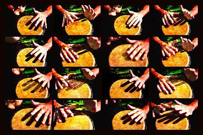 Collage Drum Bang Boom Yellow Poster
