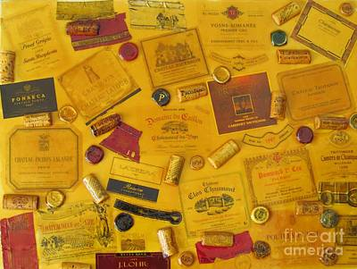Collage Of Wine Bottle Labels And Corks Poster by Anthony Morretta