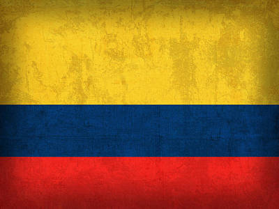 Colombia Flag Vintage Distressed Finish Poster by Design Turnpike