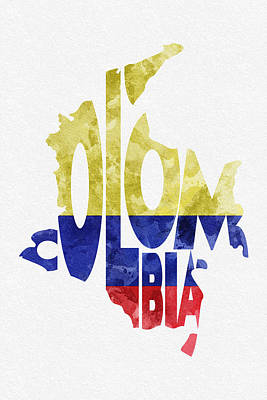 Colombia Typographic Map Flag Poster by Ayse Deniz