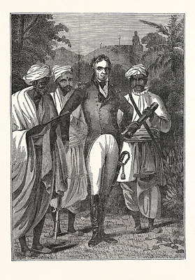 Colonel Mackenzie And The Brahmins Poster by English School