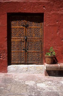 Colonial Door And Geranium Poster by James Brunker