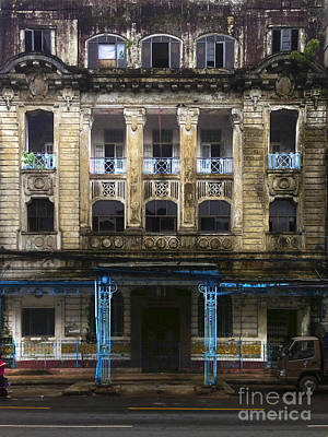 Poster featuring the photograph Colonial Facade Merchant Street 8th Ward Central Yangon Burma by Ralph A  Ledergerber-Photography