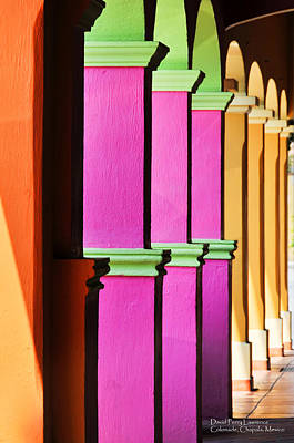 Poster featuring the photograph Colorful Colonnade - Lake Chapala - Mexico - Travel Photography By David Perry Lawrence by David Perry Lawrence