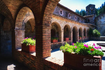 Colonnade Of An Old World Castle In Napa Valley Poster by George Oze
