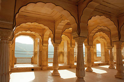 Colonnaded Gallery, Amber Fort, Jaipur Poster by Inger Hogstrom