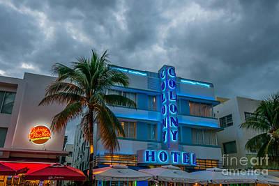 Colony And Johnny Rockets Art Deco District Sobe Miami  Poster