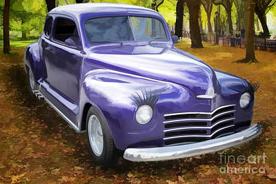 Color Painting Of A Complete 1948 Plymouth Classic Car 3389.02 Poster by M K  Miller