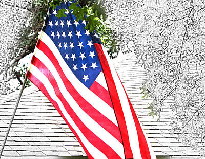 Color Us Flag In Sketch Poster by Linda Phelps