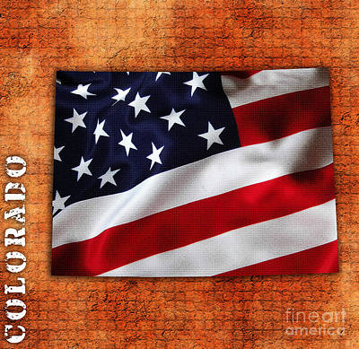 Colorado American Flag State Map Poster by Marvin Blaine