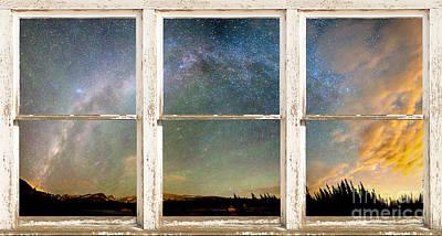 Colorado Milky Way Panorama Rustic Window View Poster