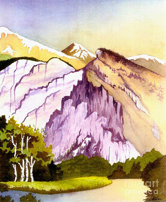Poster featuring the painting Colorado Mountains In Their Purple Majesty by Nan Wright