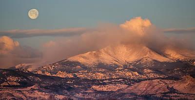 Colorado Rocky Mountain Full Moon Set Panorama Poster