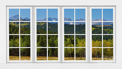 Colorado Rocky Mountains White Window Frame View Poster