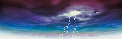 Colored Stormy Sky W Angry Lightning Poster