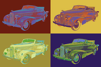 Colorful 1938 Cadillac Lasalle Pop Art Poster