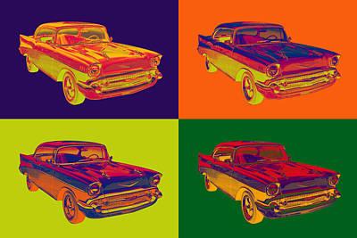 Colorful 1957 Chevy Bel Air Car Pop Art  Poster