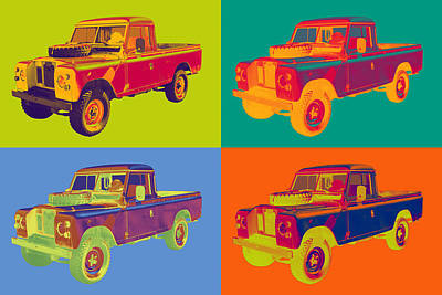 Colorful 1971 Land Rover Pick Up Truck Pop Art Poster by Keith Webber Jr