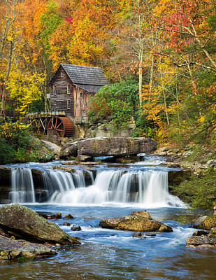 Colorful Autumn Grist Mill Poster by Lori Coleman