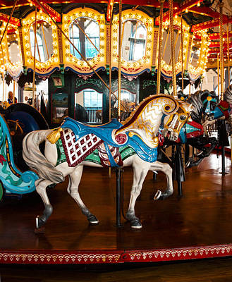 Poster featuring the photograph Colorful Carousel Horse by Jerry Cowart