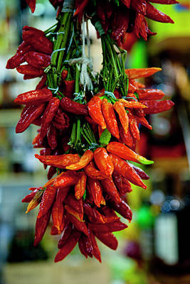 Colorful Chilies Hang In A Market Poster by Brian Jannsen