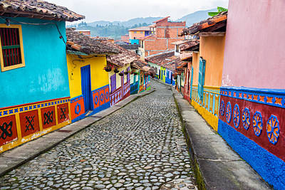 Colorful Cobblestone Street Poster