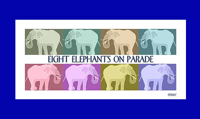 Colorful Elephants Poster by Marian Cates